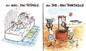 1-Les inégalités face à l'eau potable et l'eau douce De nombreuses inégalités se présentent entre les pays du Sud (pays pauvres ou émer...