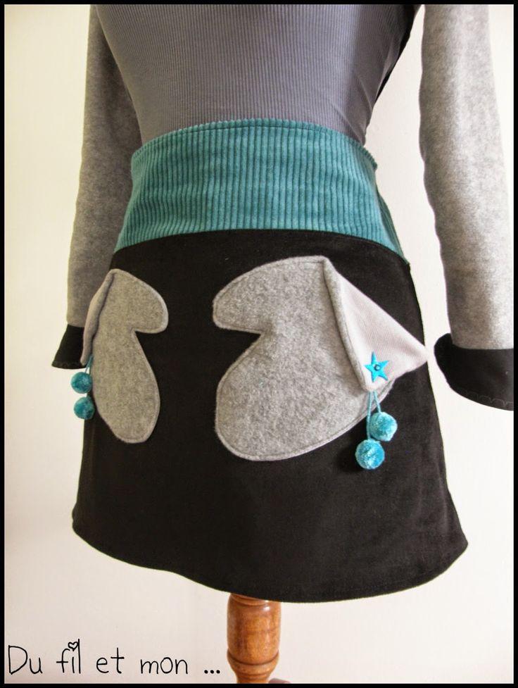 Du fil et mon...: Jupe poches moufles Tuto !