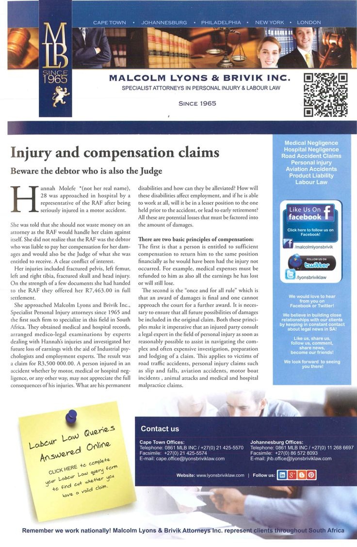 PERSONAL INJURY ARTICLE: Article about Injury and compensation claims.  #Articles  To speak to an expert in contact : 0861 MLB INC / +27(0) 11 268 6697 FREE or jhb.office@lyonsbriviklaw.com