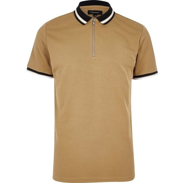 River Island Camel brown zip placket polo shirt ($10) ❤ liked on Polyvore featuring men's fashion, men's clothing, men's shirts, men's polos, brown, men's regular fit shirts, mens polo shirts, mens short sleeve polo shirts, mens brown shirt and mens tall shirts