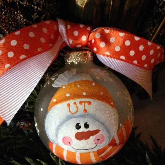 My handpainted ornaments; can paint other teams as well. University of TN Glass Christmas Ornament by PinkSugarplumCottage, $12.95