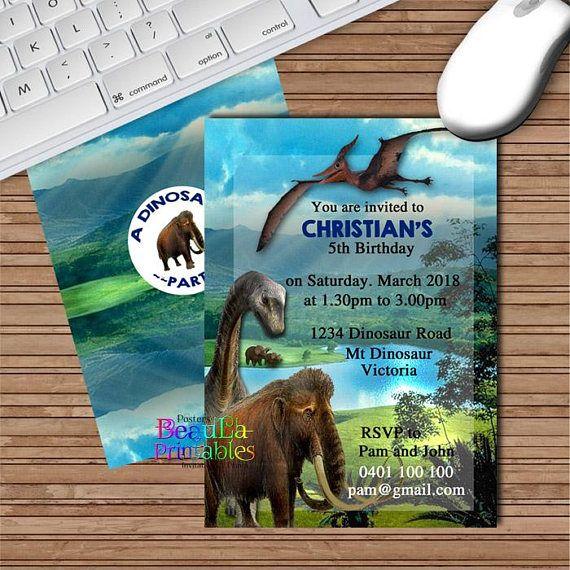 Dinosaur Birthday Invitations Dinosaur Custom Invite