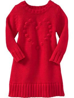 Popcorn-Heart Sweater Dresses for Baby   Old Navy