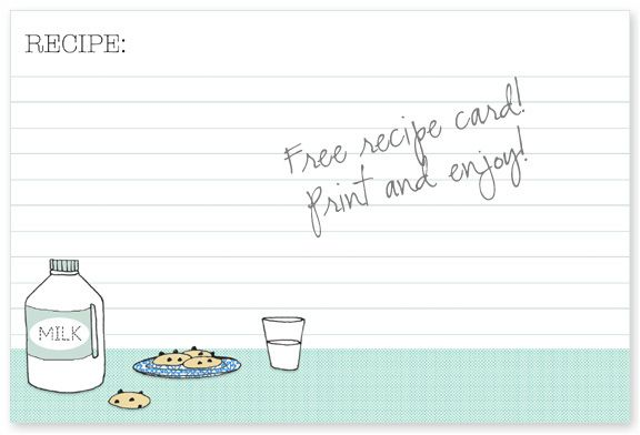 DIY : Free Recipe Card Print. Comes in 2 sizes - 4 x 6 and 3 x 5.