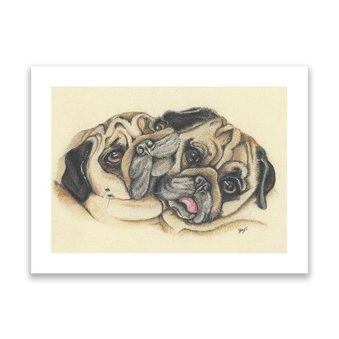 Double the love Print by pugportraitsuk at zippi.co.uk