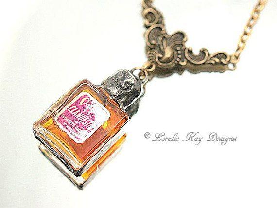 Miniature Vintage Paris Perfume Bottle Necklace Soldered