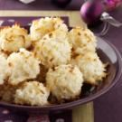 Chewy Coconut Macaroons Recipe  2-1/2 cups flaked coconut  3/4 cup all-purpose flour  1/8 teaspoon salt  1 can (14 ounces) fat-free sweetened condensed milk  1-1/2 teaspoons almond extract