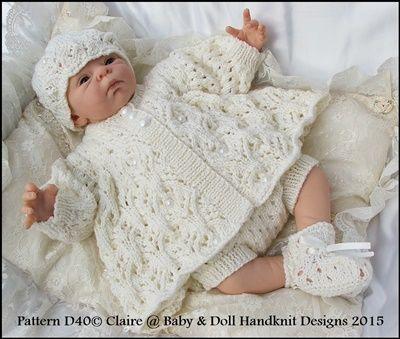 """Dots и маргаритки Matinee Set 13-18 """"кукла (крошечные Preemie-новорожденный) -matinee набор, вязание модели, куклы, детские Preemie, недоношенные, конструкции Babydoll Handknit"""