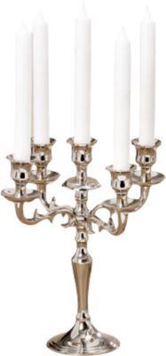 #Unisex #Kerzenleuchter #Varas #H26 cm #silber Der stilvolle Kerzenleuchter ´´Varas´´ bietet Platz für fünf Kerzen und besteht aus vernickeltem Aluminium. - Maße: ca. 26 x 26 cm - bitte beachten Sie, dass die abgebildeten Kerzen nicht im Lieferumfang enthalten sind Material: Aluminium