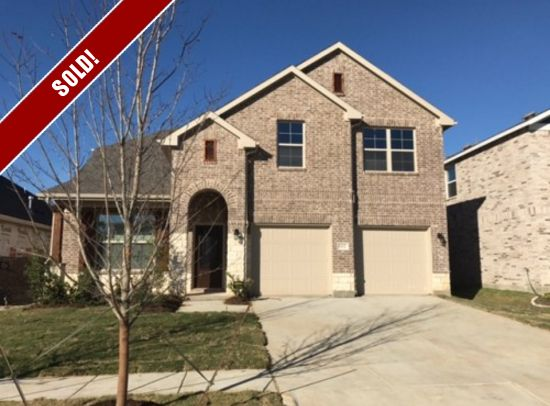 """SOLD! Adorable new construction home features 4 bed, 3.5 bath, 2-car garage, study, media & game-room, hardwoods, white custom glass-front cabinetry, custom backsplash, Kitchen Aid stainless steel appliances with built in double ovens, and 36"""" 5-burner gas cooktop with stainless steel hood. Marble counters in all bathrooms, Sante Fe interior doors and Covered patio w/ extended concrete. Location: 1621 Ridge Creek, Aubrey, TX List Price: $319,590"""