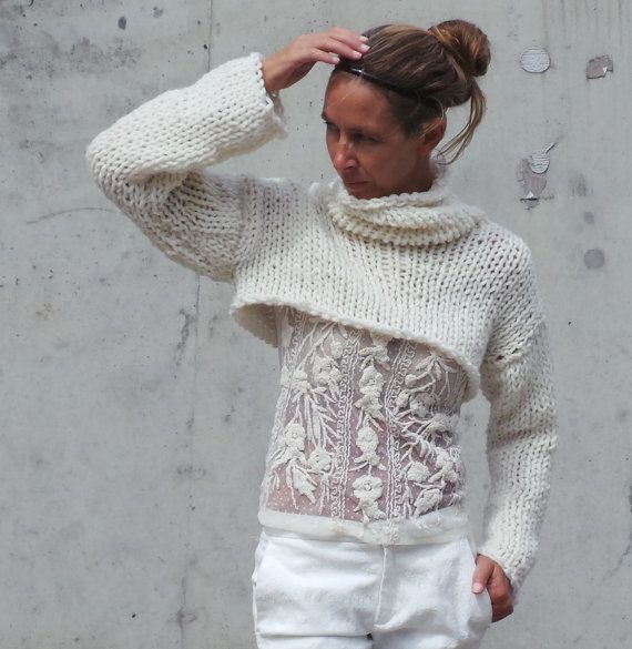 RESERVED FOR SARA White sweater / Ivory cream sweater por ileaiye