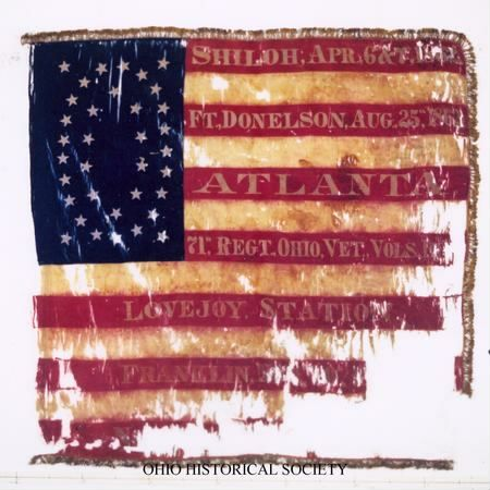 """Regimental flag of the 71st Ohio Volunteer Infantry. It was the 71st Ohio that surrendered the town of Clarksville, Tennessee to a much smaller force of Confederate cavalry led by Adam """"Stovepipe"""" Johnson and Thomas Woodward on August 18, 1862."""