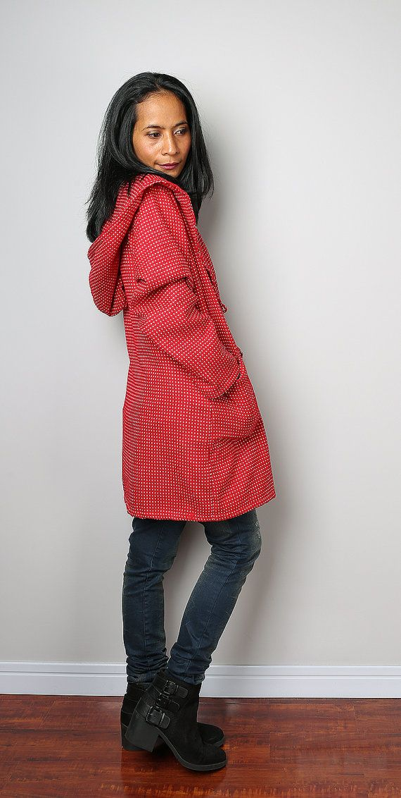 Wool coat  / Hooded Jacket / Autumn Jacket / Red and by Nuichan