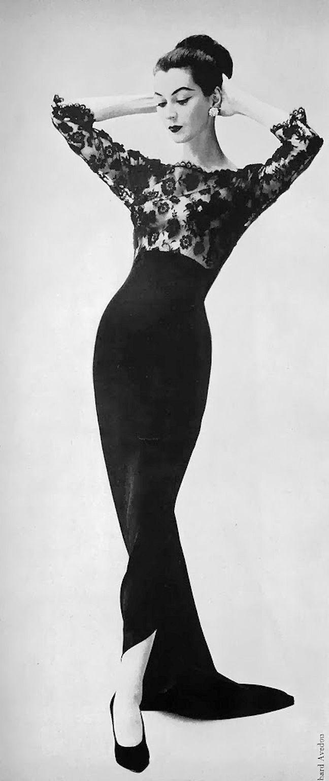Dovima, in Irene Lentz - 1957 - Marshall Field & Company Ad. - Photo by Richard Avedon - http://www.avedonfoundation.org/