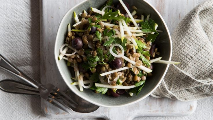 Apple, lentil, grape and watercress salad recipe