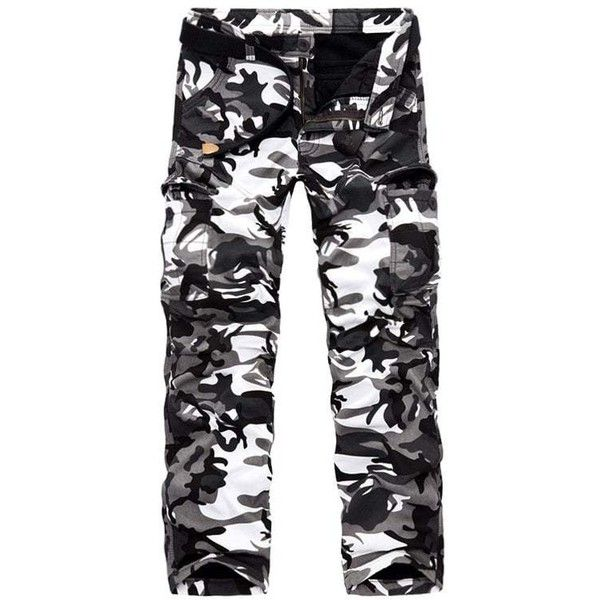 Zipper Fly Fleece Multi Pocket Camo Cargo Pants ($33) ❤ liked on Polyvore featuring men's fashion, men's clothing, men's pants, men's casual pants, mens cargo pants, mens fleece pants, mens zip off pants, mens camo cargo pants and mens camo pants