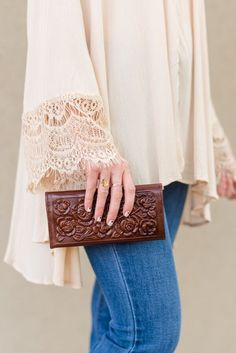 tooled leather wallet brown boho Three Bird Nest | Bohemian Clothing