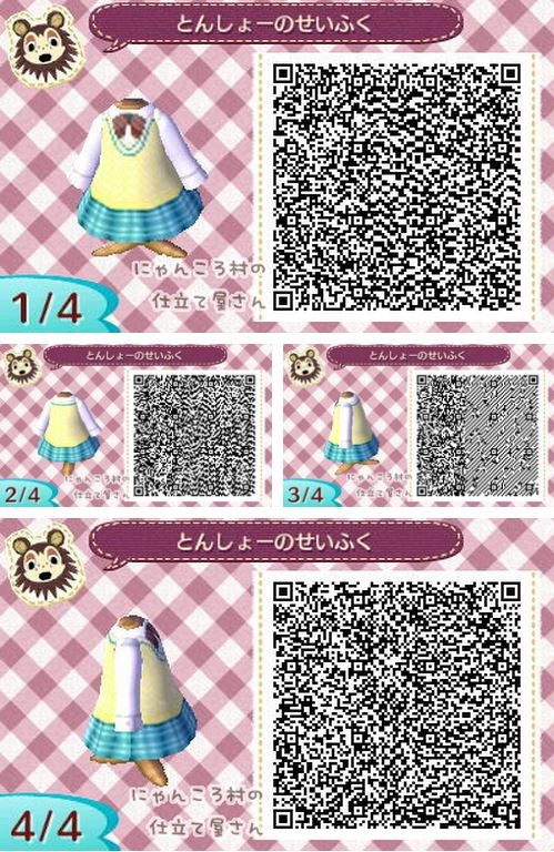 Animal Crossing: New Leaf - outfit schoolgirl uniform QR-code