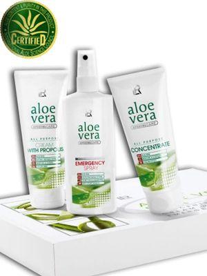 Aloe vera box. #Aloe #vera #box.  - #Emergency spray 150 ml. 83% Aloe vera - Aloe vera #Concentrate 100 ml. 90% Aloe vera. - Aloe vera #Propolis 100 ml. 79% Aloe vera 469:-  Fri frakt.