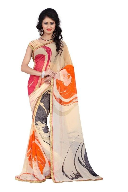 buy saree online Cream Colour Fancy Printed With Lace Border Georgette Saree Buy Saree online - Buy Sarees online