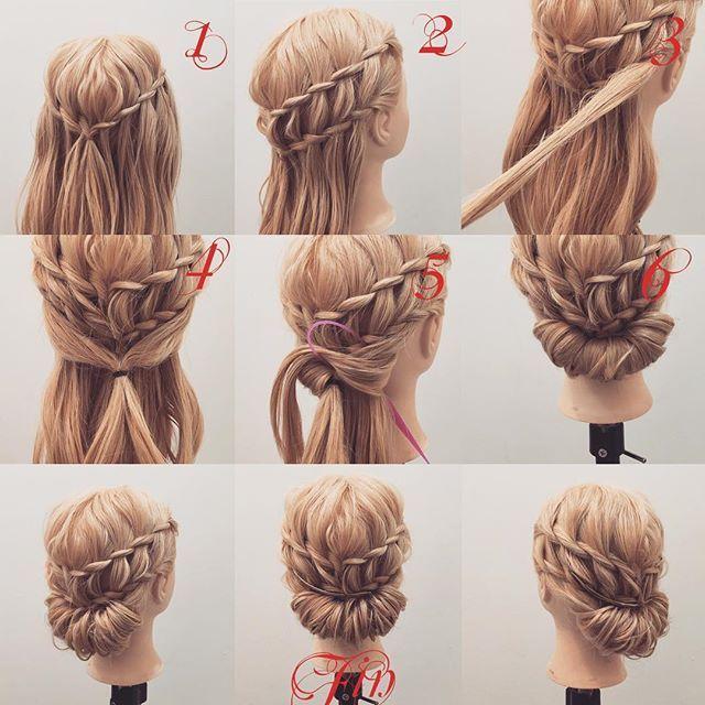 フォロワーさんリクエスト✨ 浴衣に似合う✨ ウォーターフォール×ギブソンタックアレンジ★ 1,ウォーターフォールを作ります 2,もう一つウォーターフォールを作ります 3,ウォーターフォールの下の髪を少し下の髪を少しとります 4,後ろで結びます 5,余った髪を端から少しずつ4番にアレンジスティックを使って巻きつけていきます 6,ギブソンタックを作ります Fin,崩したら完成です ウォーターフォールのやり方は一つ前のpicで上げてます★ 参考になれば嬉しいです^ ^ #ヘア#hair#ヘアスタイル#hairstyle#サロンモデル#サロンモデル撮影#サロンモデル募集#撮影#編み込み#三つ編み#フィッシュボーン#ロープ編み #アレンジ#SET#ヘアアレンジ#アレンジ動画#アレンジ解説#香川県#高松市#丸亀市#宇多津#美容室#美容院#美容師#berry #ウォーターフォール #ギブソンタック