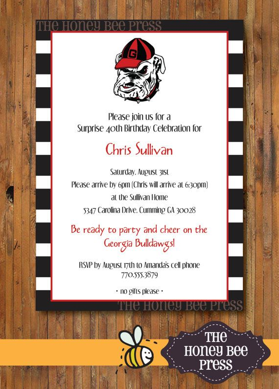 UGA Birthday Party Invitation - Georgia Bulldog Tailgate ...