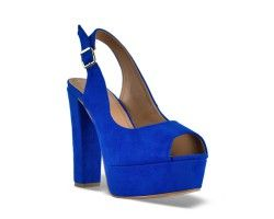 30€ Peep-Toe platform slingback, blue and suede pattern. Visit our website now!