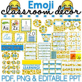 Bring some fun to your classroom by decorating it with this EMOJI themed classroom dcor materials pack! You will find PDF, PNG and editable PowerPoint files in this pack - keep reading to find out what you can expect to receive:PDF FILES Alphabet Posters Binder Covers and Spines Bulletin Board Setup Bunting Calendar Squares Calendar Teacher Monthly Circle Numbers 0-35 Circle Numbers 1-12 Class Jobs Setup Color Posters Coupons Template Cursive Posters Days of the Week Grouping Cards Hall…
