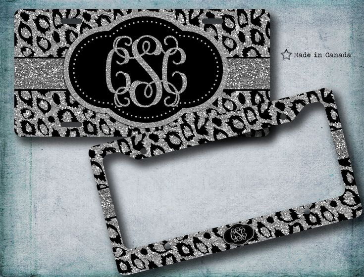 silver glitter black and silver cheetah cute license plate bike tag license plate frame monogrammed license plate 31