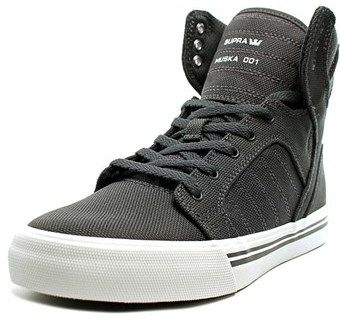 Supra Skytop Youth Round Toe Canvas Gray Sneakers.