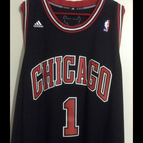 "CHICAGO BULLS D.ROSE #1 AUTHENTIC NBA JERSEY❤️ Adidas / Black & red / Chicago bulls jersey / Sewn-on numbers & lettering / Long / 4XL Men's / Only flaw is on the back of the jersey the ""1"" is missing two stitches on the bottom of the ""1"" not noticeable though. Adidas Tops"