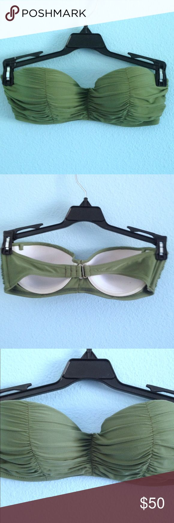 Green bandeau bikini top Green bandeau bikini top. Clips in the back. Best fits a-b cup. Army green color. Padded with a little push up. Billabong Swim Bikinis