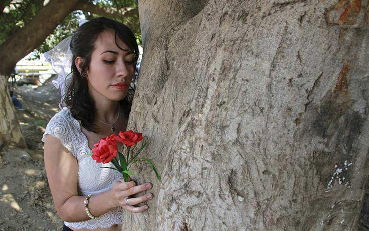 Una veintena de personas, incluidos niños, contrajeron nupcias este domingo con árboles plantados en las márgenes de un río del estado mexicano de Oaxaca