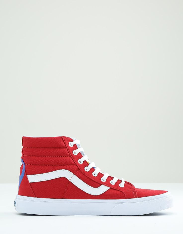 Vans Sk8-Hi Reissue In Red VA2XSBMXE  from ASOS (men, style, fashion, clothing, shopping, recommendations, stylish, menswear, male, streetstyle, inspo, outfit, fall, winter, spring, summer, personal)