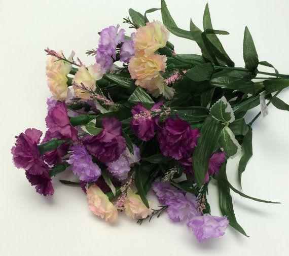 Artificial Flowers - One PURPLE and Cream MINI Carnation Bush - Flower Crowns, Wedding Crowns, Halos