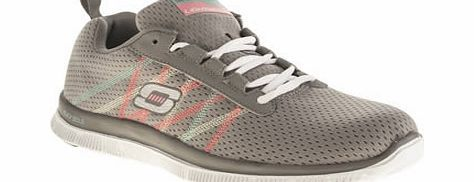 Skechers Grey Flex Appeal Something Fun Trainers Skechers Flex Appeal bring us Something Fun for the new season, with this super lightweight grey trainer. Featuring multi-coloured stripe detailing on the midsection, a Memory Foam insole and rubber F http://www.comparestoreprices.co.uk/womens-shoes/skechers-grey-flex-appeal-something-fun-trainers.asp