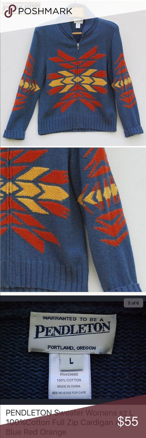 PENDLETON- Aztec sweater//large/ 💯 % Cotton Very warm and cozy Pendleton zip up cotton sweater. Aztec design. Size Large Pendleton Sweaters Cardigans