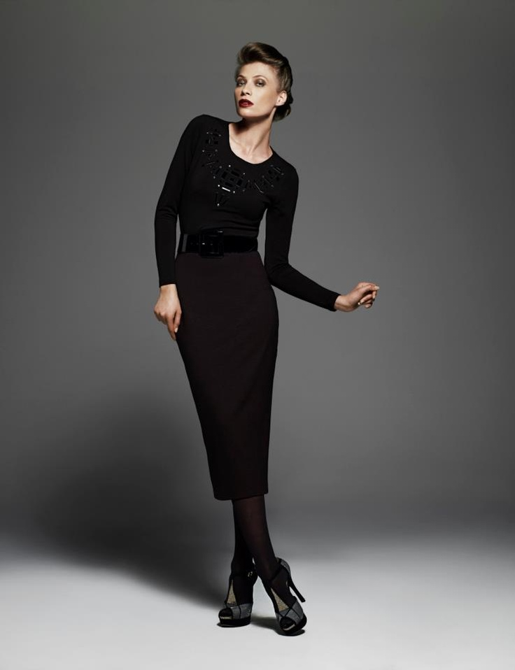Slim Fit Long Sleeve Geometric Beaded Top, Fitted Skirt and Patent Belt (Leather)