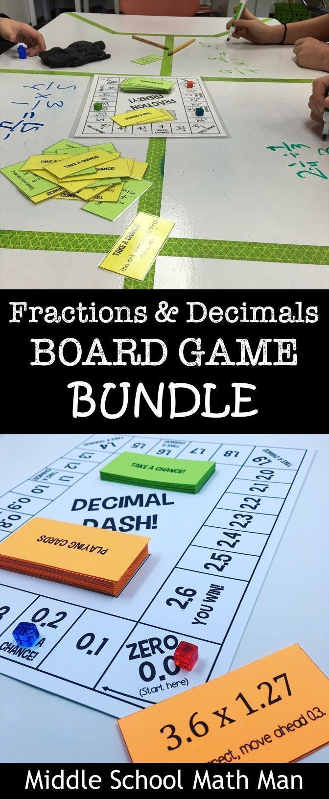 This Fractions and Decimals Board Game Bundle includes 6 math board games to that help students practice adding/subtracting fractions, multiplying fractions, dividing fractions, adding/subtracting decimals, multiplying decimals, and dividing decimals! These games are a great way for students to have fun while learning these important math skills! #mathpracticegames
