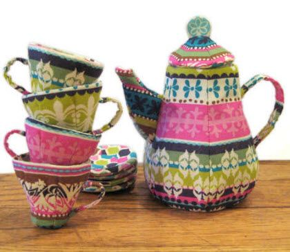 tea set made of fabric