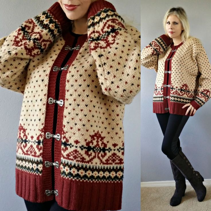 Vtg70s  ABERCROMBIE & FITCH Knit WOOL Ethnic NORDIC Ski Cardigan Sweater Coat  #AbercrombieFitch #Cardigan
