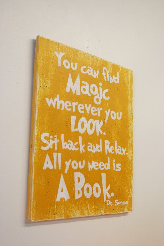 You Can Find Magic Wherever You Look Wood Sign Dr. Suess Nursery Art Book Themed Boys Nursery Girls Nursery Distressed Wood Baby Gift on Etsy, $25.00