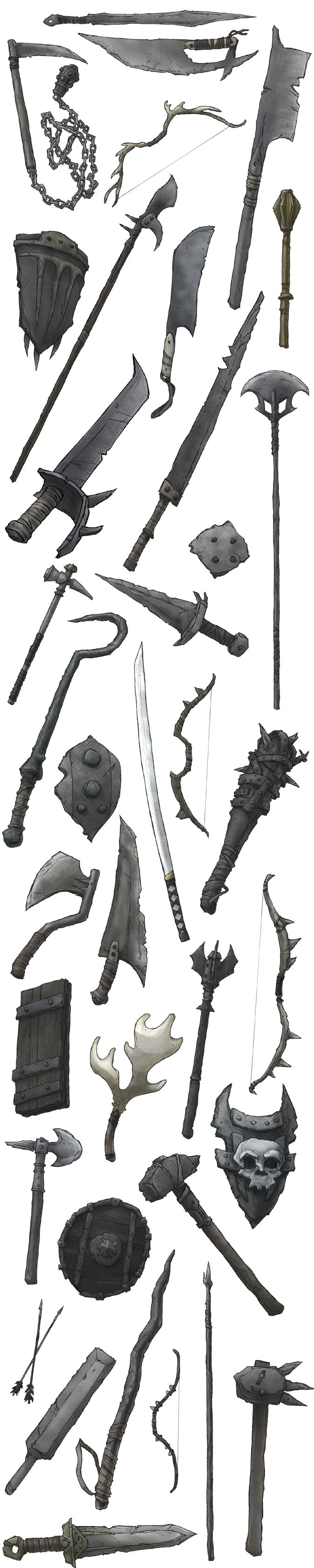 asst weapons by ~jimmymcwicked on deviantART   ★    CHARACTER DESIGN REFERENCES™ (https://www.facebook.com/CharacterDesignReferences & https://www.pinterest.com/characterdesigh) • Love Character Design? Join the #CDChallenge (link→ https://www.facebook.com/groups/CharacterDesignChallenge) Share your unique vision of a theme, promote your art in a community of over 50.000 artists!    ★