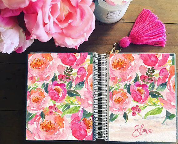Floral Planner Cover: Erin Condren Cover Sizes & Happy Planner Cover Sizes - Select Planner, Dashboard or Notebook Size during checkout