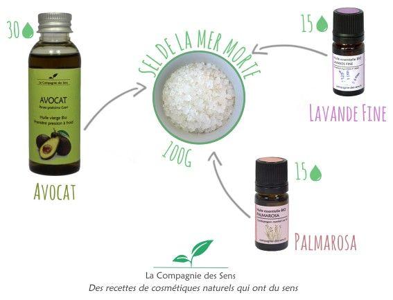 Un bain pour avoir une peau douce avec 4 ingrédients !  - 15 gouttes d'huile essentielle de Lavande Fine   - 15 gouttes d'huile essentielle de Palmarosa  - 30 gouttes d'huile végétale d'Avocat   - 100 g de sel de la Mer Morte