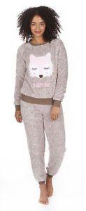 Damen Fleece Pyjama Set Warm Winter Fleece PJs Neuheit Top Und Hose Set Anzug