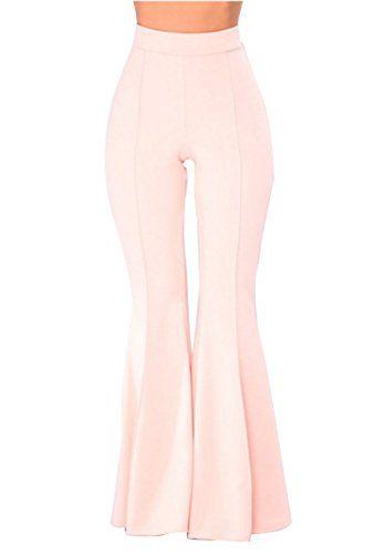 2885899c95e367 GUOLEZEEV Womens Elastic Waist Bell Bottom Pants Wide Leg Flare Trousers