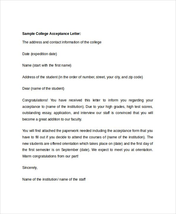 College Acceptance Letter Sample | template | College acceptance