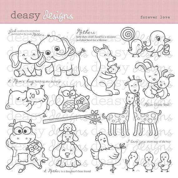 Digital Stamp Art  Forever Love  by DeasyDesigns on Etsy, $4.99