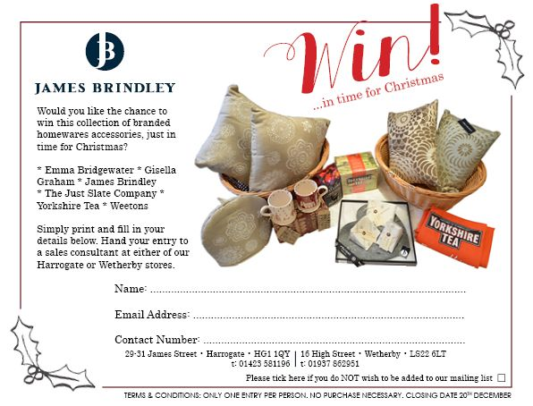 **WIN** Simply download and print the attached prize coupon and bring it into one of our stores for your chance to win this beautiful collection of branded home accessories.